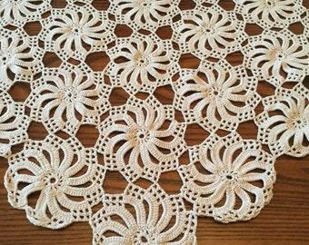 "Handmade Pinwheel Motif Tablecloth Vintage Hand Crochet Lace Mid Century Hexagon Centerpiece  Lace Doily 44 x 68"""