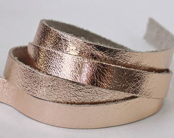 7-10mm Rose Gold Leather, Cowhide Genuine Leather Strap