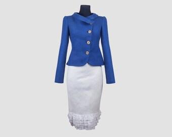 Blue Felted Jacket for Women   wool jacket   something blue   bridal jacket   felt jacket   merino wool jacket   wedding dress