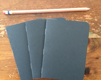 3 Pack - Black Handmade Pocket Notebooks 3.5x5 Journal, Jotter, Notepad 40 Blank Pages