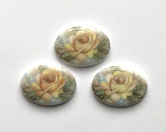 Vintage German Decal Cameos, German Porcelain Cameos, Yellow Rose, Porcelain Cameos, Vintage Cameo, 25x18mm, B'sue Boutiques, Item02136