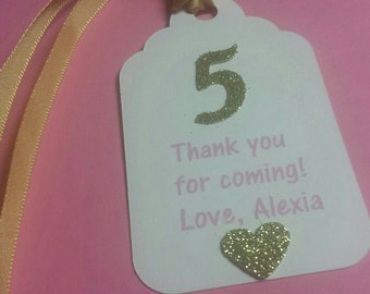 Personalized Birthday Party Age Princess Favor Tags Pink Gold