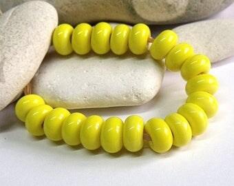 Sunny Lemon, Lampwork Spacer Beads, SRA, UK