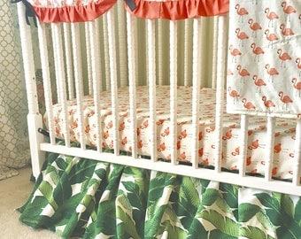Custom Crib Bedding in Flamingo and Palm Leaves, Flamingo Baby Bedding, Palm Leaf Baby Bedding, Black Green Coral Nursery