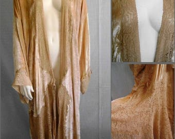 Vintage Flapper Silk Velvet Alencon Lace French Lingerie Peignoir Dressing Gown Robe