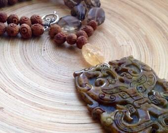 Statement carved jade necklace Frida Kahlo necklace advanced style necklace carved jade pendant, smoky quartz, citrine, vintage bodhi seeds
