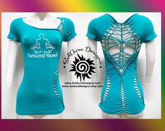 TRANSCEND - Juniors / Womens Cut and Weaved Shirt, Yoga Wear, Beach Wear, Club Wear, Zen Wear