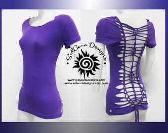 SENSUAL BEAUTY 1 - Juniors / Womens Cut and Weaved Beautiful Purple Top - Yoga Wear, Festival Wear, Club Wear, Beach Wear