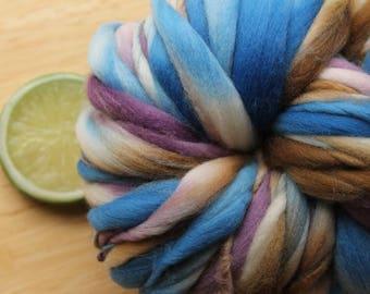 Purple Mountains - Handspun Merino Wool Yarn Purple Blue Brown Cream Thick and Thin