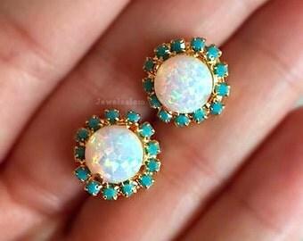 Opal Earrings, Gold Studs, Rainbow Opal, October Birthstone Jewelry Gift, Bridesmaids Earrings, Small Round Stud Earrings