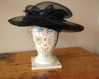 Vintage Ladies Hat Large Vintage Ladies Black Hat Derby Hat Large Brim Black Hat Vintage Straw Hat Beaded Hat from The Eclectic Interior