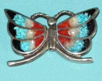 Native American Pawn Turquoise Coral Jet Mop Inlay BUTTERFLY Ponytail Hair Clip cover