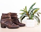 Brown Vintage Boots Leather Strap Ankle - Size 6
