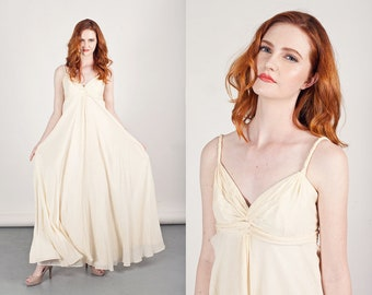 50s Grecian Dress Vintage Crepe Dress Cream Long Spaghetti Strap Dress