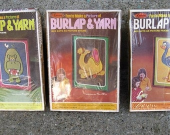 1970s kids craft kits set of 3 burlap and yarn animals 7 by 10 new old stock  gift idea
