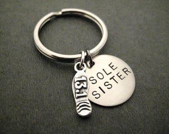 SOLE SISTER with Sterling Silver 13.1 Half Marathon or 26.2 Marathon Shoe Print Charm Key Chain / Bag Tag - Ball Chain or Key Ring