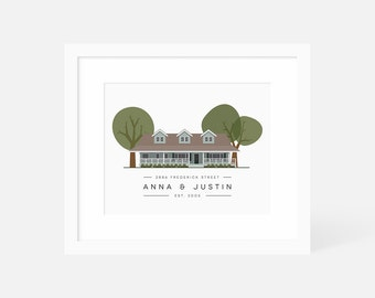 Custom House Portrait / New Home Illustration / Minimalist Modern Housewarming Gifts / Personalized Print of House / Anniversary Gift