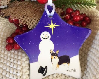 Black and Tan Corgi Christmas Ceramic Ornament