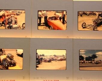 6 Vintage 35mm Slides Drag Racing Race Cars Vernacular Track Dragster Speedway Gearhead Mechanic Pit Crew 1960's Kodak Slides #27-2