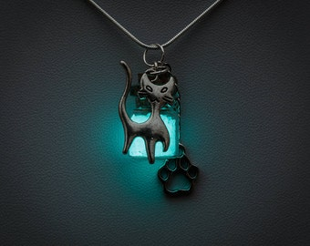 Glowing Necklace - glow in the dark bottle pendant with cat and paw charms, blue glow, cats, animal lover, kitty, animals, cat jewelry