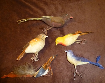 Flocked and  Feathered Vintage Bird Ornaments Supply Lot of 5