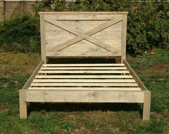 Headboard Vintage Barn Door Replica, with Siderails and Platform Footboard By Foo Foo La La