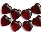 15mm Side drilled Dark Red Heart beads, czech glass pressed red beads, 8Pc - 1330