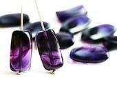 Dark Purple beads, Rectangular czech glass beads, dark violet rectangle beads - 18x10mm - 10Pc - 3043