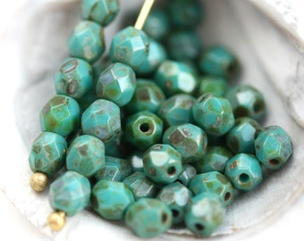 4mm Rustic Turquoise Picasso Czech glass beads, fire polished round spacers - 50Pc - 2642