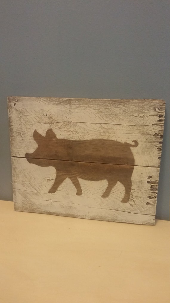 Pig picture pallet wood sign kitchen decor hog lover decor Pig kitchen decor