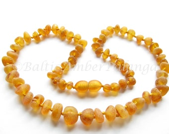 Raw Unpolished Baltic Amber Cognac Color Beads. For Adults
