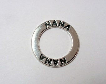 "Sterling Silver ""NANA"" Affirmation Message Ring, 23mm SS Affirmation Ring"