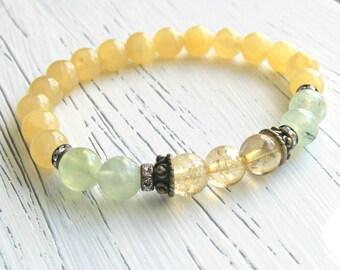Peace & Joy, Prehnite, Citrine, Jade, gemstone, Yoga Bracelet, Meditation bracelet, Reiki bracelet, healing bracelet, Jade bracelet, mala