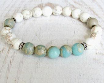 Courage,  Aqua Terra Jasper, Magnesite,Yoga bracelet, Energy bracelet, Yoga mala, Reiki, wrist mala, prayer beads, Meditation bracelet, Mala