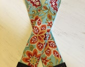Camera Strap, 10% off with coupon code - photography gift, birthday gift, dSLR and camera strap - Aqua and coral paisley with aqua minky