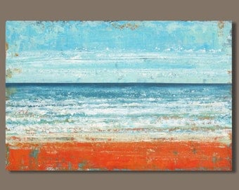 FREE SHIP large abstract painting, seascape painting, abstract beach painting, abstract ocean painting, landscape, orange and blue, 24x36