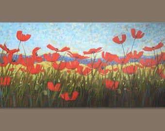 FREE SHIP abstract painting, red poppies, poppy painting, impressionist landscape, flowers, floral canvas art, panoramic painting modern art