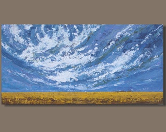 FREE SHIP abstract art, panoramic painting, prairies landscape, prairie painting, wheat field farmland, purple sky clouds, impressionist art