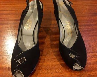 Vintage 1950s I. Miller Black Suede Open Toe Sling Back Heels Size 9