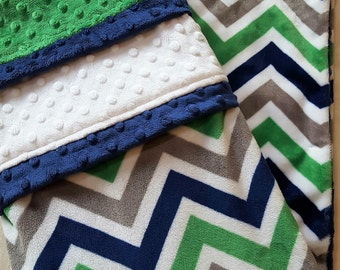 St. Patrick's Day Green/Navy/Gray/White -  Minky Baby Blanket
