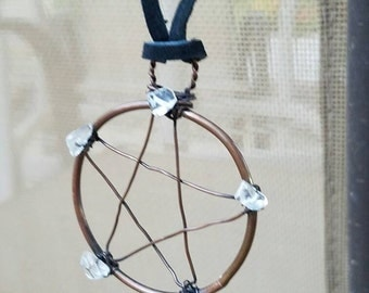 Quatrz pentacle necklace, copper necklace, Custom copper jewelry, copper pentacle pendant, pentacle jewelry, quartz jewelry