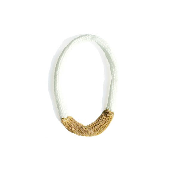 Hand-Knitted Long Necklace - White