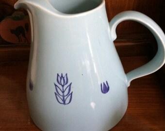 Vintage Cronin Blue Tulip Pottery Pitcher