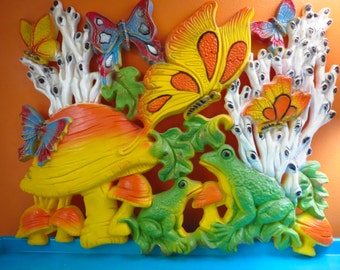 Vintage 1960s MOD Retro Groovy Homco Psychedelic Mushroom Butterfly Plastic Wall Art