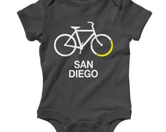 Baby One Piece - Bike San Diego Infant Romper - NB 6m 12m 18m 24m - Bicycle Baby, Cycling Baby, San Diego Baby, Bike Baby, Bicycle Sign Baby