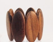 BANGLE BEADS - HUGE wood bead bracelet - large oval shape wood bangle - beads made from wood with two sets of holes