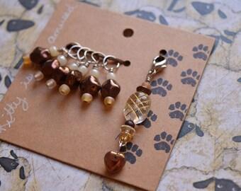 Set of 7 Beaded Knitting Stitch markers glass beads dangle