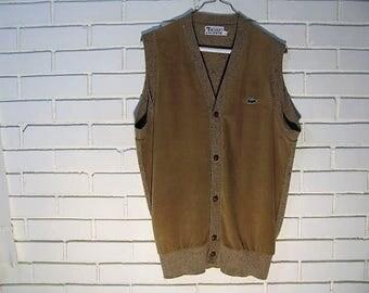 Vtg Izod sweater vest tweed back velour front size L