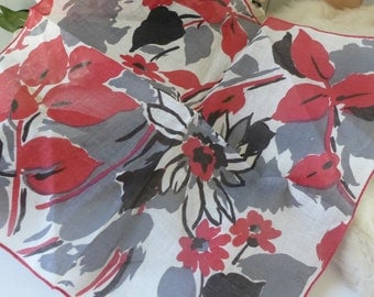 Printed Hanky Gray and Red Floral  Handkerchief Vintage 40s ladies handkerchief Floral  Motif  Printed red black gray