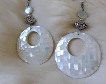 MOP Mosaic Hoops  Donut Earrings  White mother of pearl Silver Bead Oversize Boho Disco Dangle Earrings